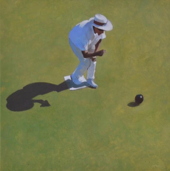 """TABLEAU PEINTURE Pétanque Australie Sport Vert Scène de genre Peinture a l'huile  - """"L'enquête suit son cours"""""""