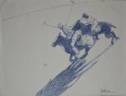 "tableau sport polo chevaux cavaliers sport : ""Polo plunge"""