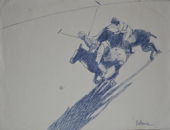 """TABLEAU PEINTURE polo chevaux cavaliers sport Sport Encre de Chine  - """"Polo plunge"""""""