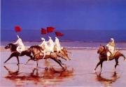 """tableau scene de genre chevaux maroc fantasia bleu : """"Les chevaliers de la 25ème heure"""""""