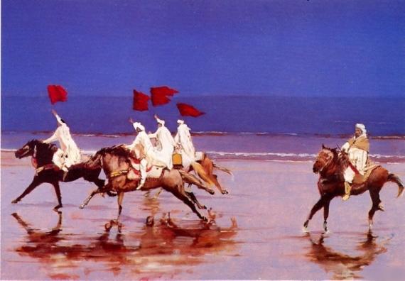 """TABLEAU PEINTURE chevaux maroc fantasia bleu Scène de genre Estampe  - """"Les chevaliers de la 25ème heure"""""""
