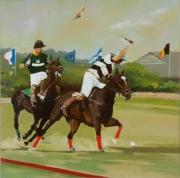 """tableau sport polo sport chevaux cavaliers : """"La 7ème minute du 4ème quart temps"""""""