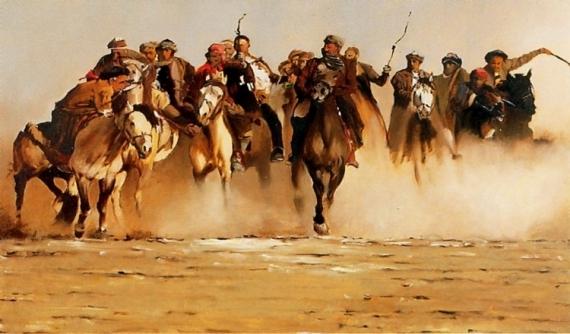 """TABLEAU PEINTURE CHEVAL cavaliers mongolie voyages Scène de genre Estampe  - """"Dans les steppes de l'Asie centrale"""""""