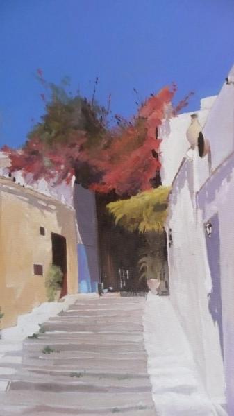 """TABLEAU PEINTURE grèce santorin paysages bleu Paysages Estampe  - """"A l'heure de la sieste"""""""