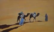 """tableau paysages desert sahara hommes bleus afrique : """"Si proche de l'Oasis"""""""