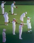 "tableau scene de genre sport petanque vert australie : ""L'alibi du Major Brooks"""