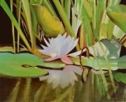 """tableau fleurs nenuphers nature morte paysage vert : """"La nuit, je mens"""""""