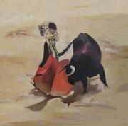 """tableau scene de genre corrida matador espagne taureau : """"Toutes les places furent vendues le jour même"""""""