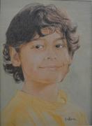 """tableau personnages portrait dessins garcon enfant : """"Pogo-Swann, mon fils à 8 ans"""""""