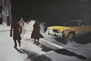"""tableau scene de genre new york personnages voitures noir : """"Dorénavant, les escargots prendront le métro"""""""