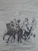 """tableau scene de genre chevaux cavaliers voyages sport : """"Bozkachi en Mongolie"""""""