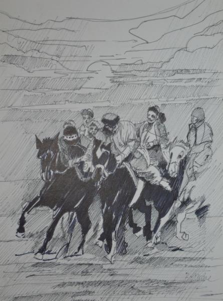 """TABLEAU PEINTURE chevaux cavaliers voyages sport Scène de genre Encre de Chine  - """"Bozkachi en Mongolie"""""""