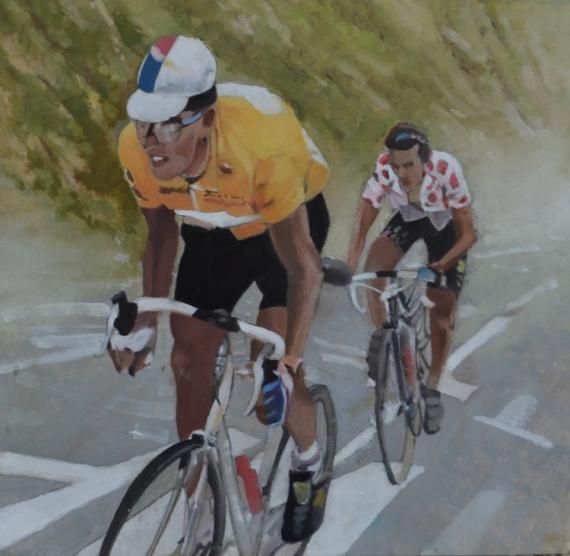 """TABLEAU PEINTURE sport cyclisme richard virenque tour de France Sport Peinture a l'huile  - """"A l' insu de son plein gré?"""""""""""