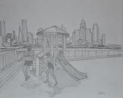 """tableau scene de genre enfants dessin villes personnages : """"Carpe Diem"""""""