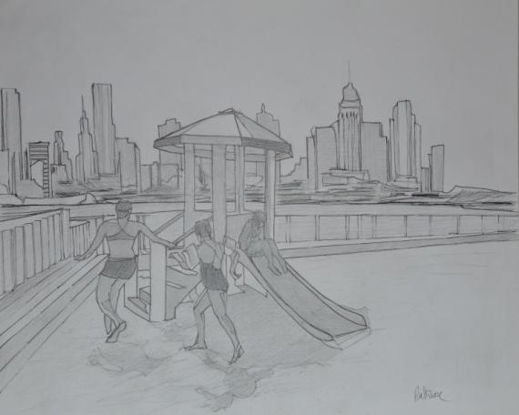 """PAINTING enfants dessin villes personnages Scène de genre Encre de Chine  - """"Carpe Diem"""""""