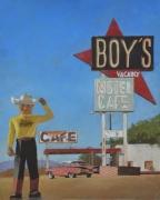 """tableau scene de genre amerique route 66 voyages bleu : """"Il est conseillé de laisser sa chemise au vestiaire avant"""
