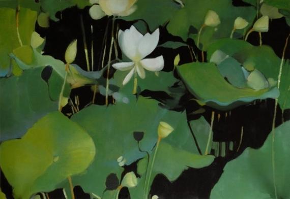 "TABLEAU PEINTURE nénuphars nature morte vert lotus Paysages Estampe  - ""Daydreams"""