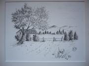dessin paysages mazet en provence : mazet1