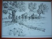 dessin paysages mazet en provence : mazet 2