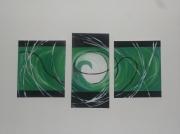 tableau abstrait vert tryptique : trou vert