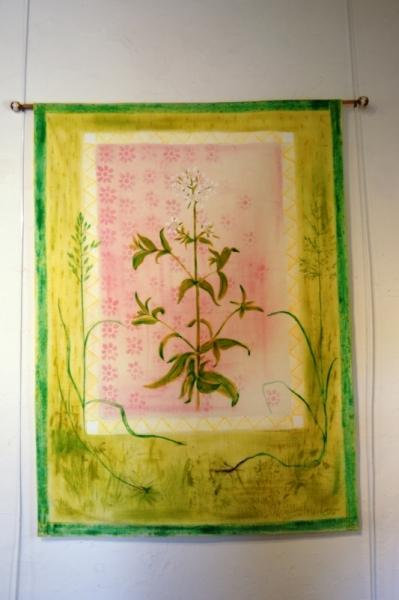 ART TEXTILE, MODE LEGER DECORATIF Fleurs  - la saponaire