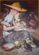 tableau personnages : La petite fille aux canards.