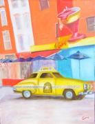 tableau villes new york taxi soho huile : taxi new york