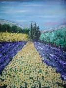 tableau paysages lavande provence fauvisme champs : a fleur de champs