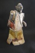sculpture personnages raku : bonze