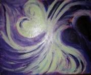 tableau abstrait violet coeur demi lune nuit : clair de lune