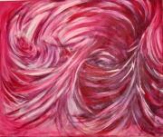 tableau abstrait visage rouge tourbillon ,a vif : visage inconnu