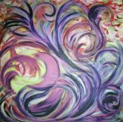 tableau abstrait violet petales plante demilune : les flots