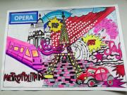 tableau scene de genre pop art : Paris pop art