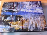 tableau abstrait deco bleu relief : abstrait marine