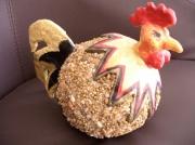 sculpture animaux poule couleur cailloux : poule