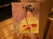 tableau : geisha et l'ombrelle