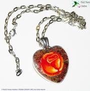 bijoux fruits collier metal fimo resine : Collier médaillon coeur ,rose