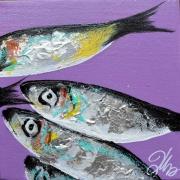 tableau marine sardines deco cuisine poissons mer : peinture sardines