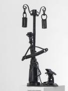 sculpture scene de genre accordeoniste reverbere chien musicien : Black Jack