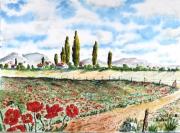 tableau paysages campagne fleurs coquelicots : Coquelicots 08 TZ 08