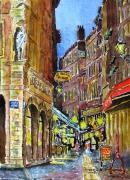 tableau villes vieilles rues : Nocturne au quartier St Jean à Lyon 03TZ 01