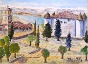 tableau paysages : Aiguines en Provence , le château N°:04 SZ 05