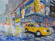 tableau villes ville : Le taxi jaune à Manhattan