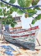 tableau marine bateau : Sur la plage , abandonné  01 TZ 04