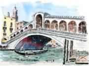 tableau architecture : Le pont Rialto à Venise