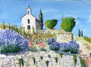 tableau paysages provence chapelle lavandes : La Chapelle St christophe à l'Hermitage 04 QT 01