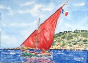 tableau marine marine mediteranee : La voile rouge 03 TZ 03