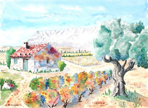 TABLEAU PEINTURE  - La Ste-Victoire peinte de Pourrières