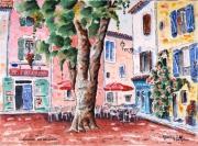 tableau paysages provence village place de village : Mazaugues en Provence N° 04 QT 03