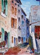 tableau villes : La rue d'Emile à Villecroze en Provence